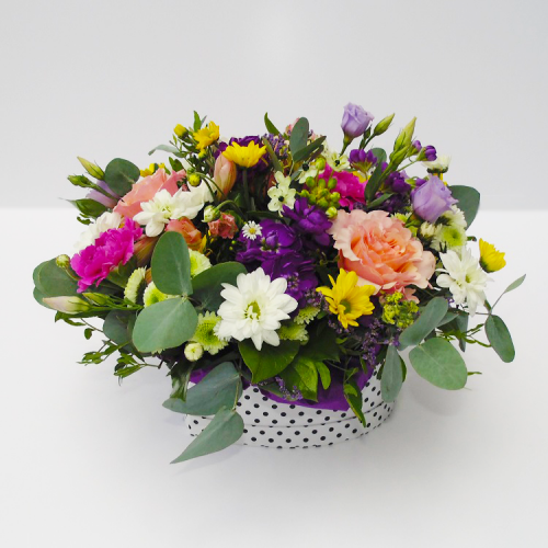 Elegant flowers box with rose, matthiola, eucalyptus